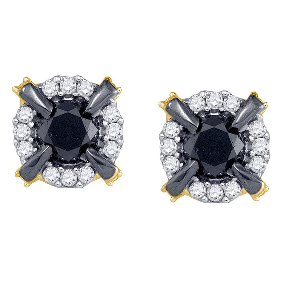 10kt Yellow Gold Womens Round Black Color Enhanced Diamond Stud Earrings 1 Cttw