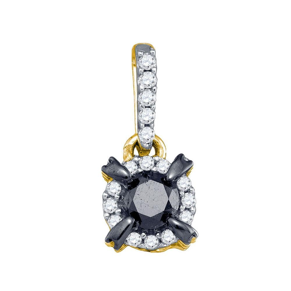 10kt Yellow Gold Womens Round Black Color Enhanced Diamond Solitaire Pendant 1 Cttw