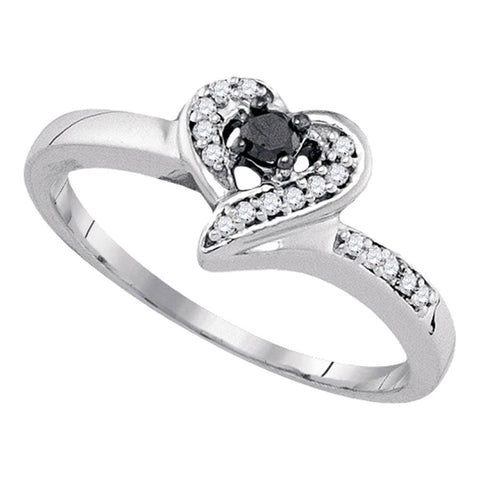 Sterling Silver Womens Round Black Color Enhanced Diamond Heart Ring 1/8 Cttw