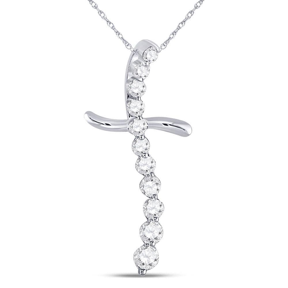 10kt White Gold Womens Round Diamond Curved Cross Faith Pendant 1/4 Cttw