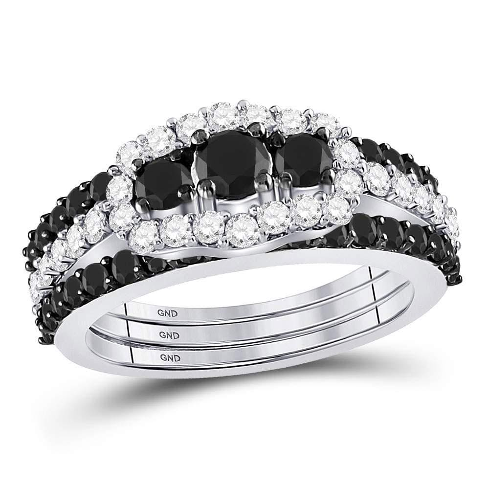 10kt White Gold Womens Round Black Color Enhanced Diamond 3-stone Bridal Wedding Engagement Ring Band Set 2-1/8 Cttw