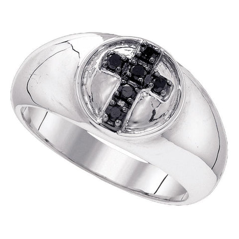 Sterling Silver Black Color Enhanced Diamond Cross Christian Fashion Band Ring 1/4 Cttw