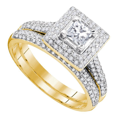 14kt Yellow Gold Womens Diamond Princess Halo Bridal Wedding Engagement Ring Band Set 1/3 Cttw