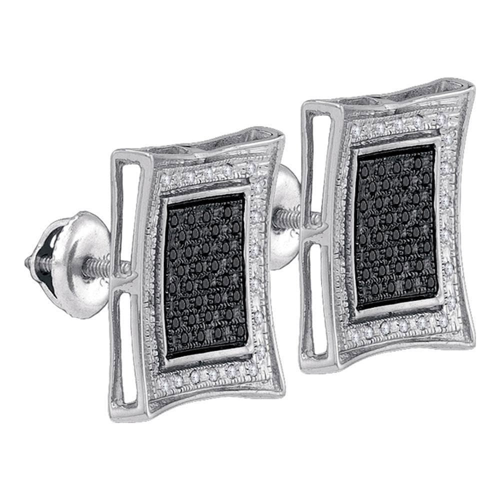 Sterling Silver Mens Round Black Color Enhanced Diamond Square Stud Earrings 1/3 Cttw