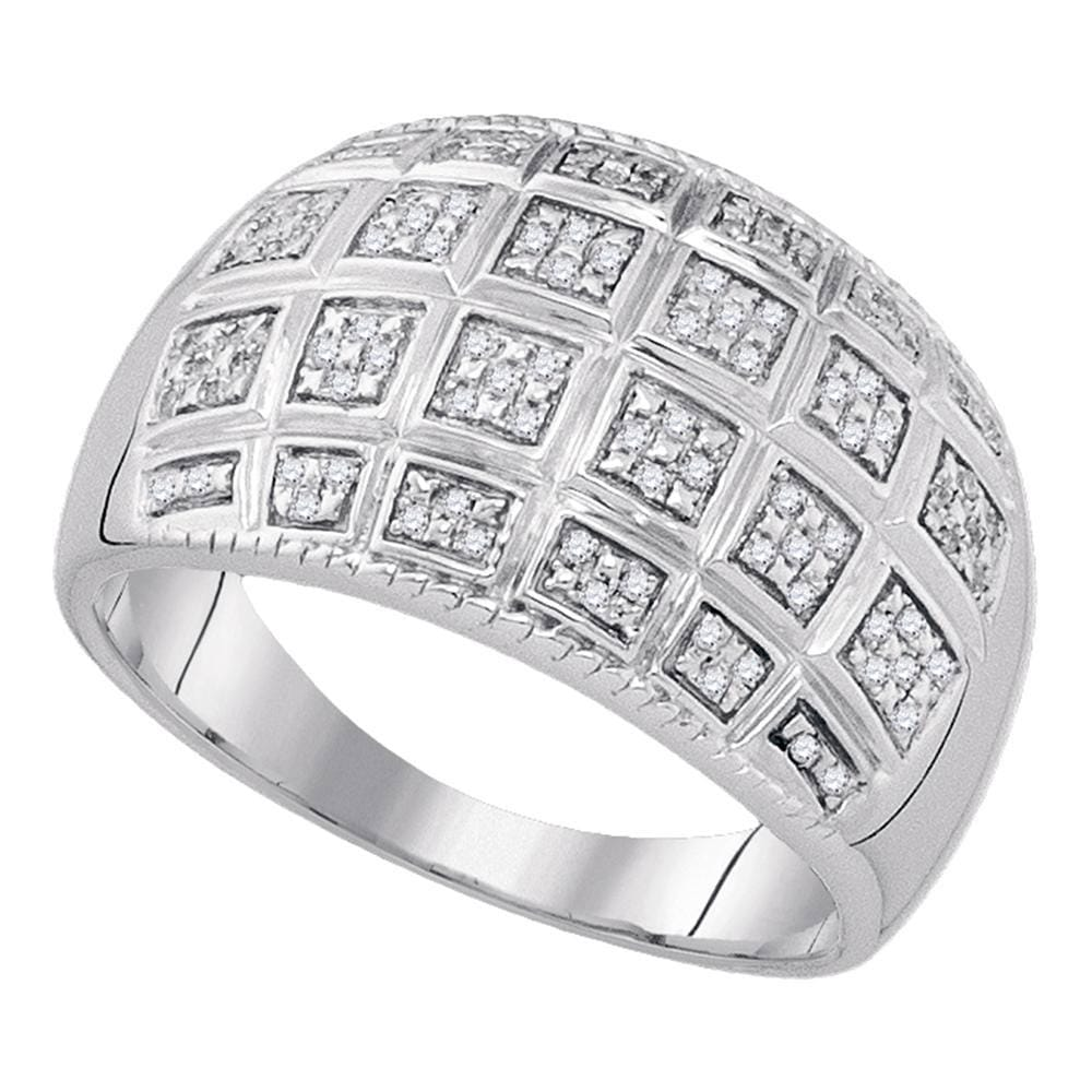 Sterling Silver Mens Round Diamond Cluster Ring 1/5 Cttw