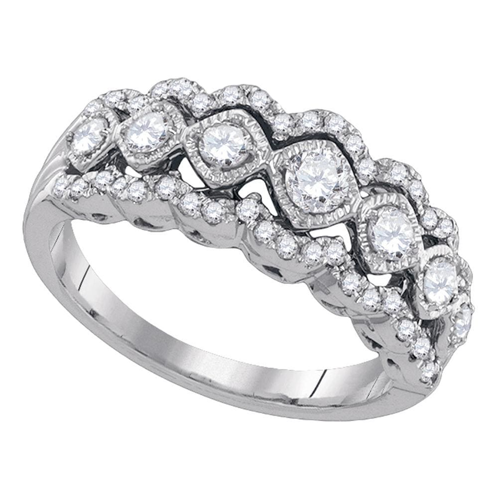 14kt White Gold Womens Round Diamond Contoured Fashion Band Ring 3/4 Cttw