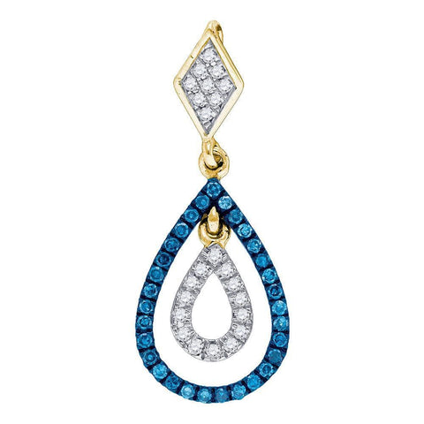 10kt Yellow Gold Womens Round Blue Color Enhanced Diamond Teardrop Pendant 1/5 Cttw