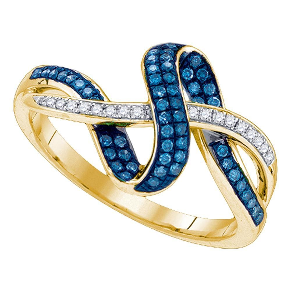 10kt Yellow Gold Womens Round Blue Color Enhanced Diamond Band Ring 1/4 Cttw