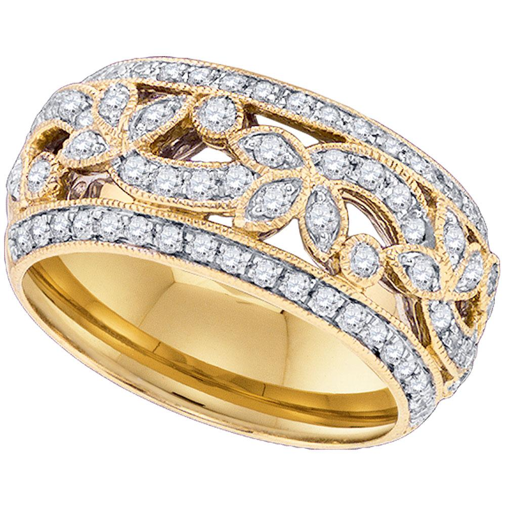 14kt Yellow Gold Womens Round Diamond Floral Band Ring 3/4 Cttw