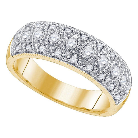 14kt Yellow Gold Womens Round Diamond Milgrain Band Ring 5/8 Cttw