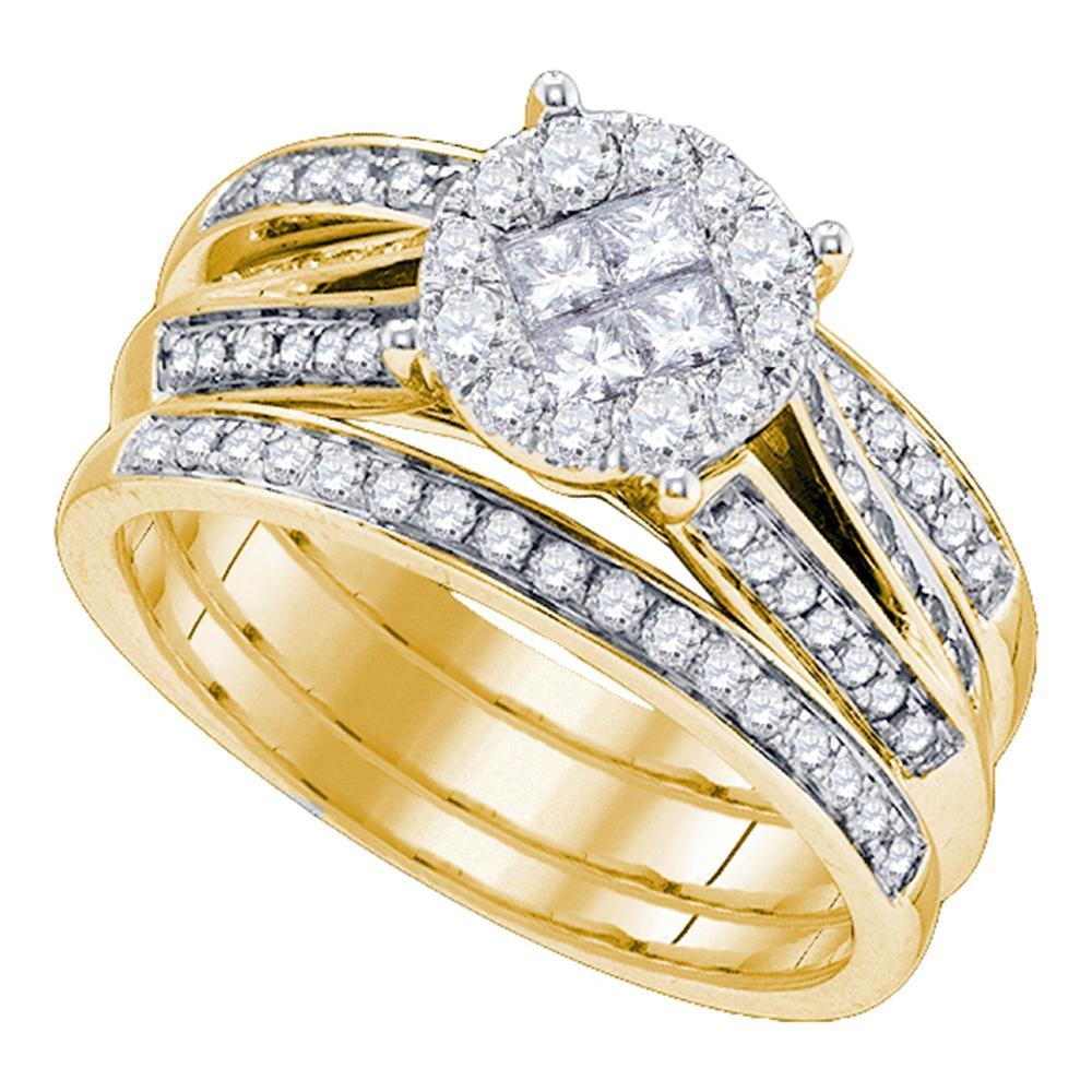 14kt Yellow Gold Womens Princess Diamond Soleil 3-Piece  Bridal Wedding Engagement Ring Band Set 1.00 Cttw