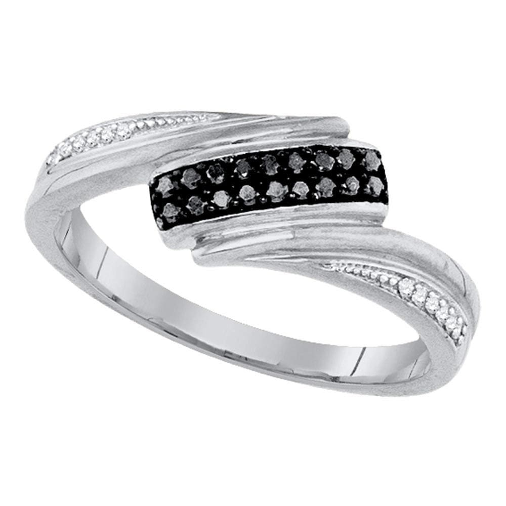 Sterling Silver Womens Round Black Color Enhanced Diamond Band Ring 1/8 Cttw