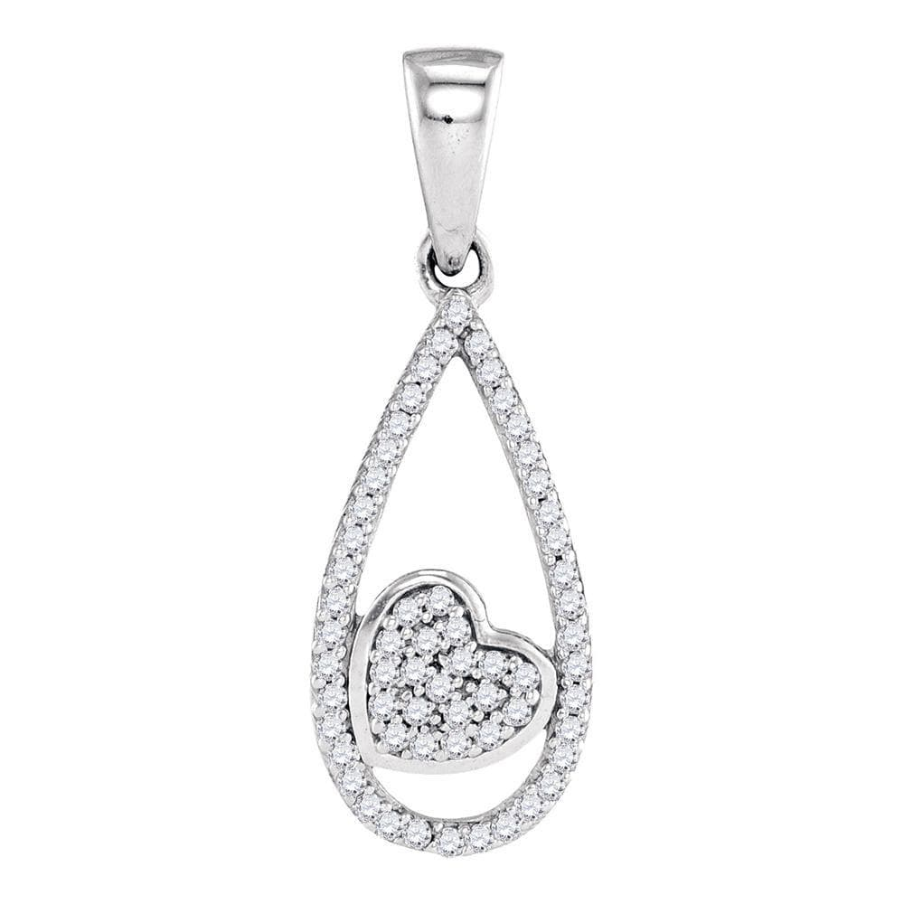 10kt White Gold Womens Round Diamond Teardrop Heart Pendant 1/8 Cttw