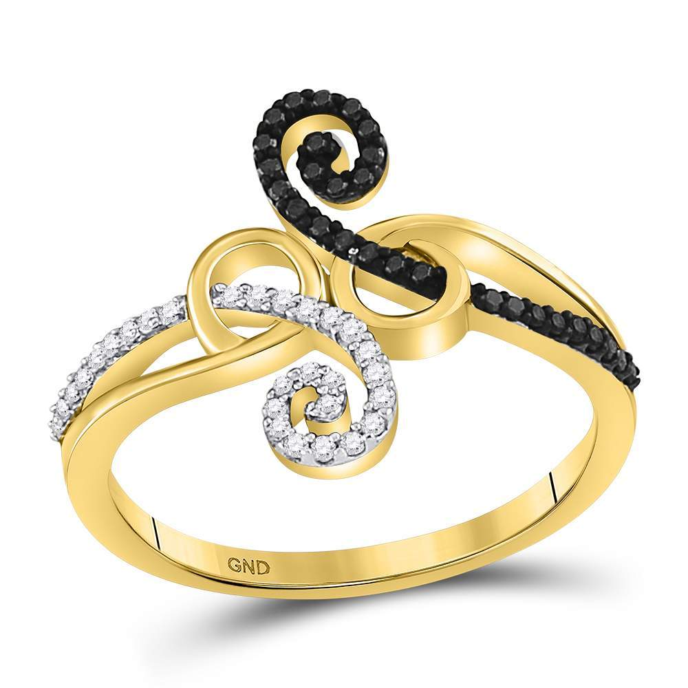 10kt Yellow Gold Womens Round Black Color Enhanced Diamond Curl Fashion Ring 1/5 Cttw