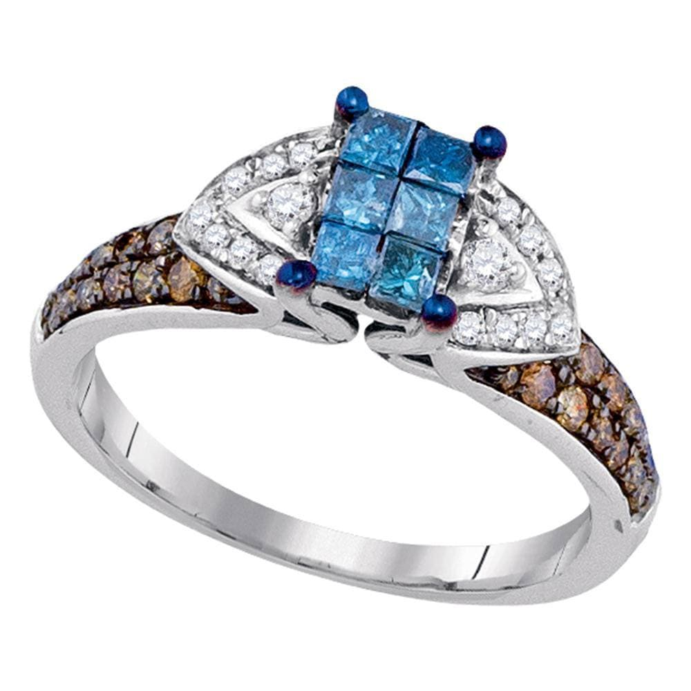 10kt White Gold Womens Round Blue Brown Color Enhanced Diamond Fashion Ring 3/4 Cttw