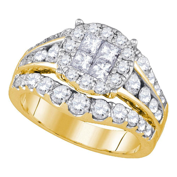 14kt Yellow Gold Womens Princess Diamond Soleil Halo Bridal Wedding Engagement Ring 2.00 Cttw