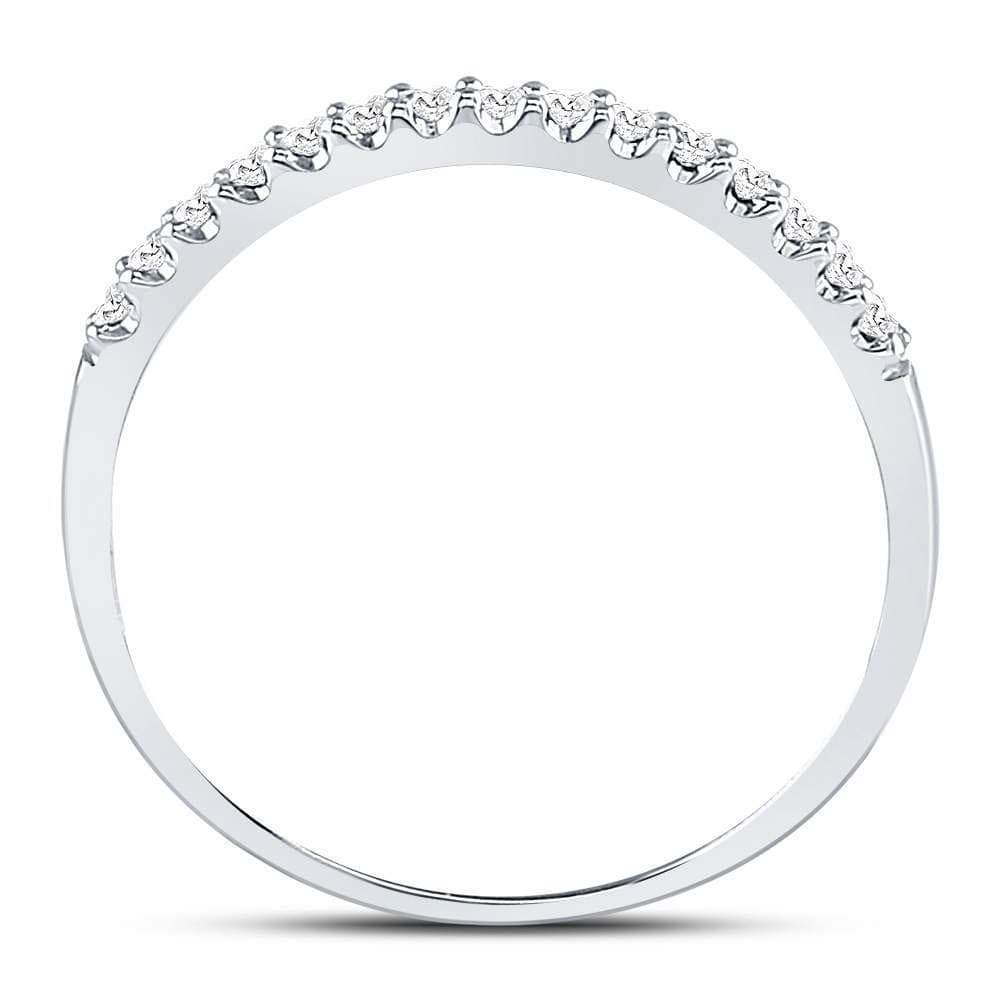 14k White Gold Round Diamond Womens Slender Stackable Size 6 Wedding Band 1/6 Cttw