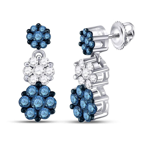14kt White Gold Womens Color Enhanced Blue Diamond Triple Cluster Dangle Earrings 2.00 Cttw