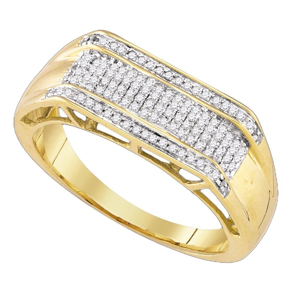 10kt Yellow Gold Mens Round Diamond Rectangle Cluster Ring 1/3 Cttw