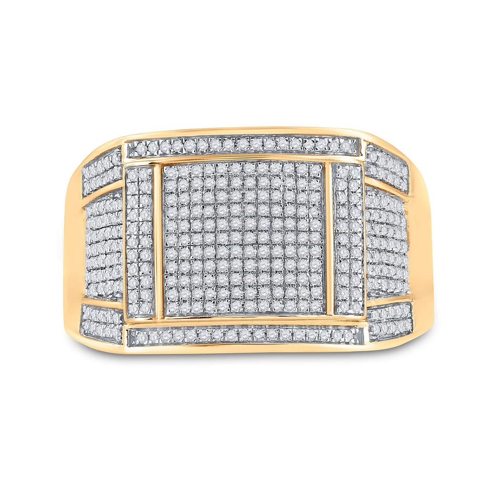 10kt Yellow Gold Mens Round Diamond Square Cluster Ring 5/ Cttw