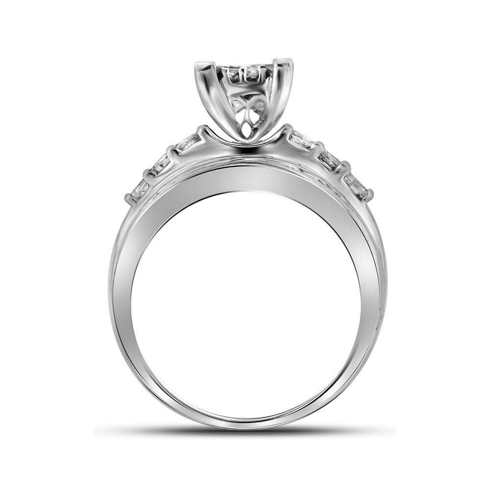 14kt White Gold Womens Princess Diamond Cluster Bridal Wedding Engagement Ring 1.00 Cttw - Size 4