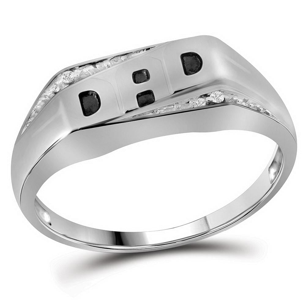 10kt White Gold Mens Round Diamond Dad Father Band Ring .01 Cttw