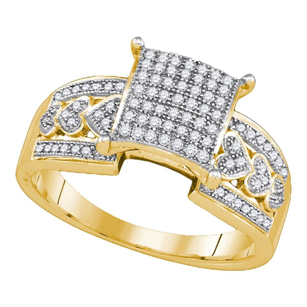 10kt Yellow Gold Womens Diamond Square Cluster Heart Bridal Wedding Engagement Ring 1/3 Cttw