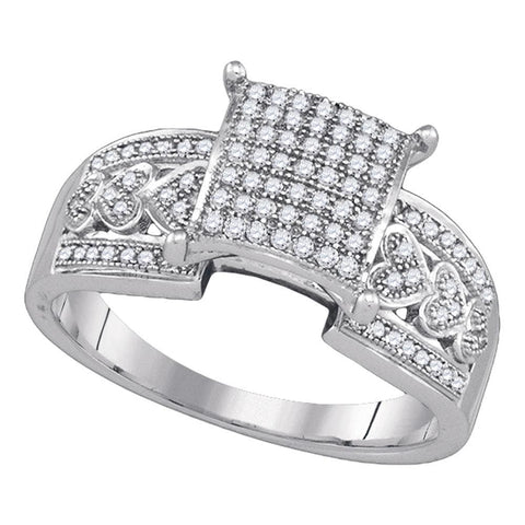 10kt White Gold Womens Diamond Square Cluster Heart Bridal Wedding Engagement Ring 1/3 Cttw
