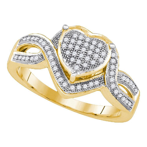 10kt Yellow Gold Womens Round Diamond Twist Heart Cluster Ring 1/4 Cttw