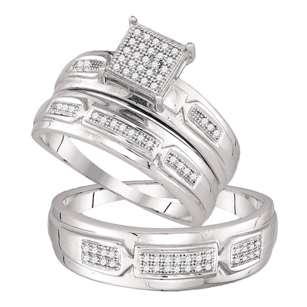 10kt White Gold His & Hers Round Diamond Cluster Matching Bridal Wedding Ring Band Set 1/5 Cttw
