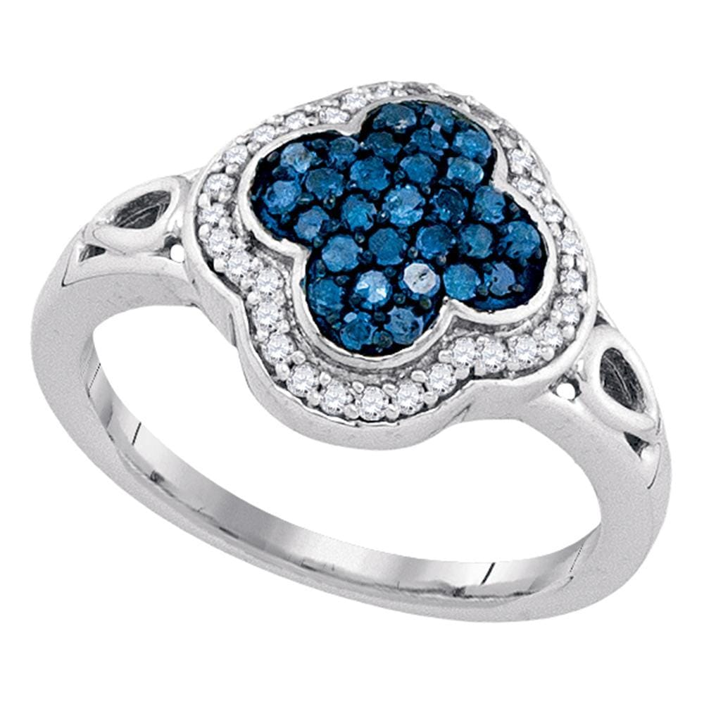 10kt White Gold Womens Round Blue Color Enhanced Diamond Quatrefoil Frame Cluster Ring 1/2 Cttw