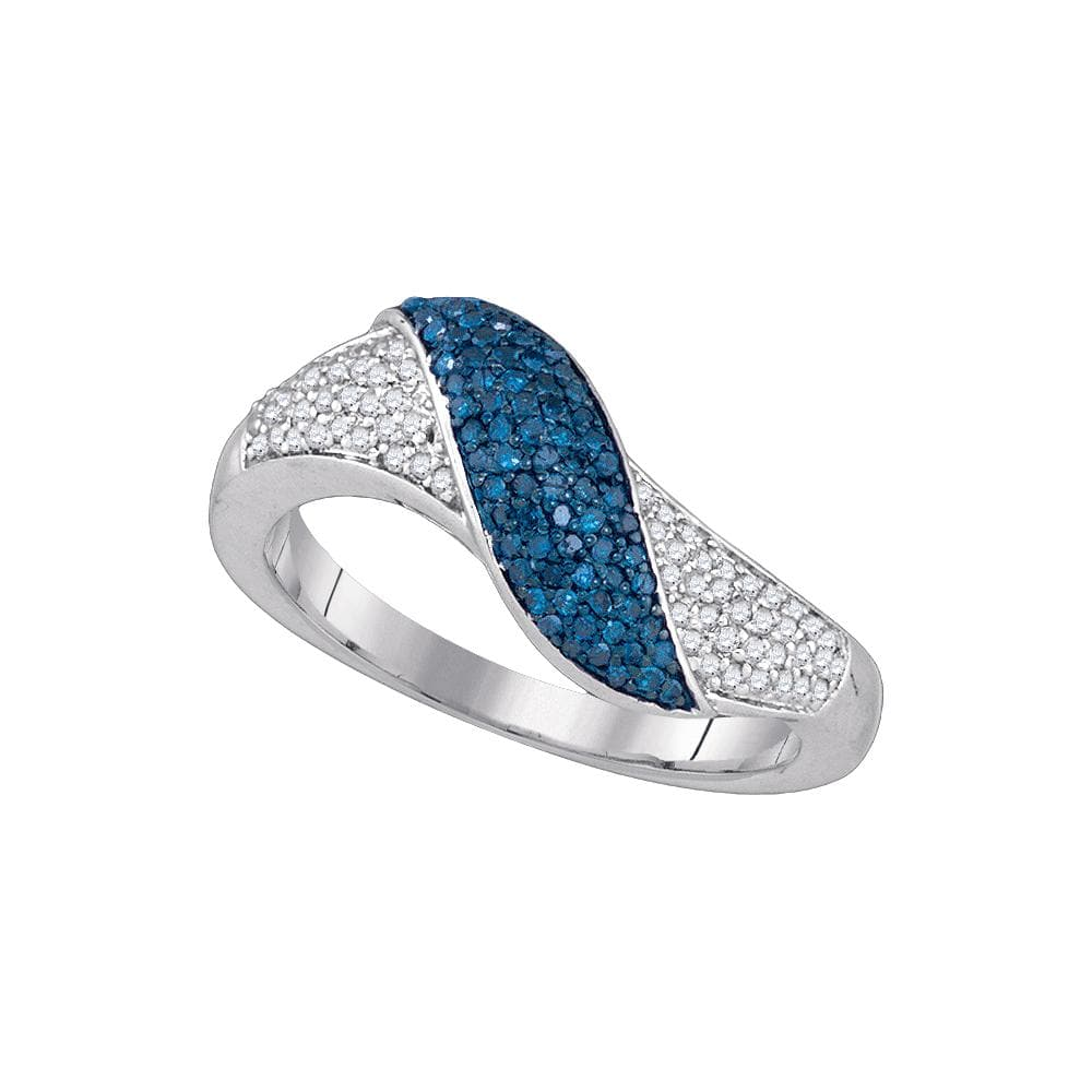 10kt White Gold Womens Round Blue Color Enhanced Diamond Crossover Band Ring 3/8 Cttw
