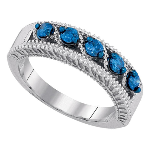 10kt White Gold Womens Round Blue Color Enhanced Diamond Milgrain Band Ring 3/8 Cttw