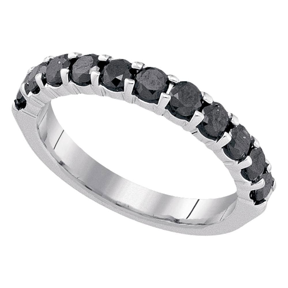 10kt White Gold Womens Round Black Color Enhanced Diamond Single Row Band Ring 1.00 Cttw