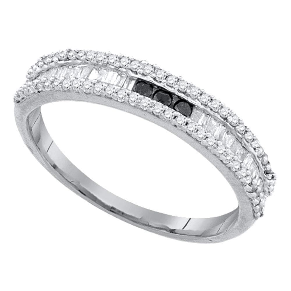10kt White Gold Womens Round Black Color Enhanced Diamond Band Ring 3/8 Cttw