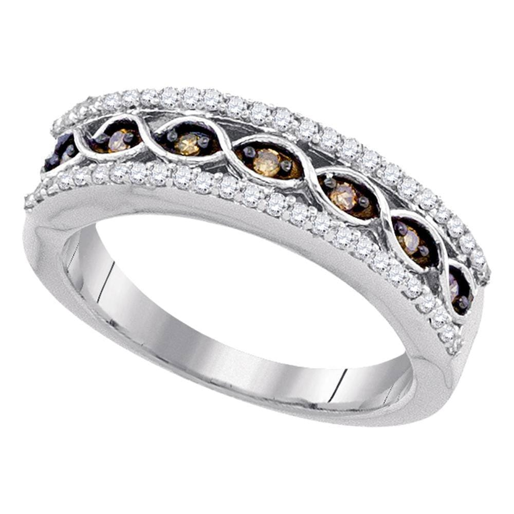 10kt White Gold Womens Round Brown Color Enhanced Diamond Band Ring 3/8 Cttw