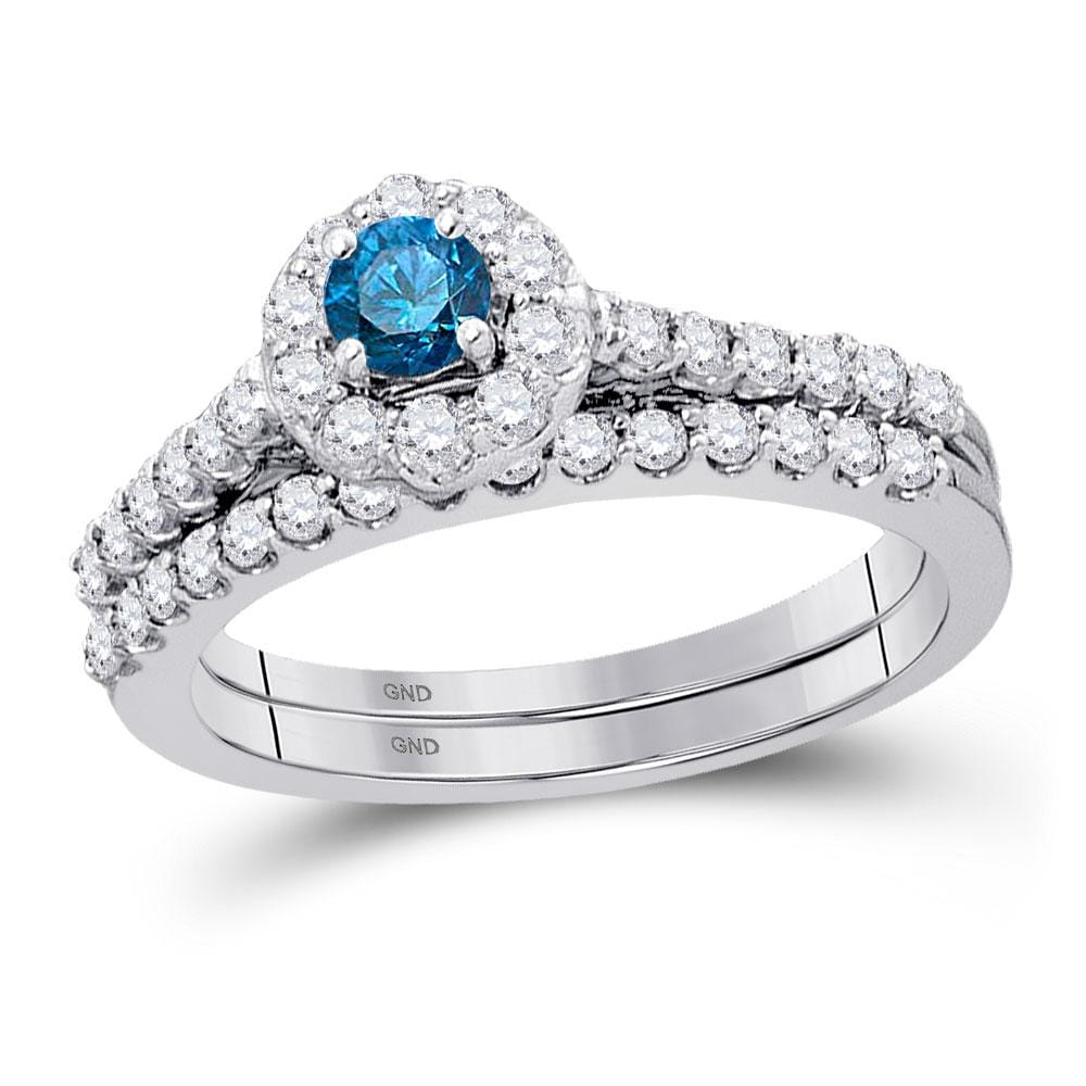 10kt White Gold Womens Round Blue Color Enhanced Diamond Bridal Wedding Engagement Ring Band Set 7/8 Cttw