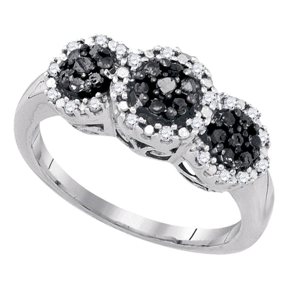 10kt White Gold Womens Round Black Color Enhanced Diamond Triple Cluster Ring 1/3 Cttw