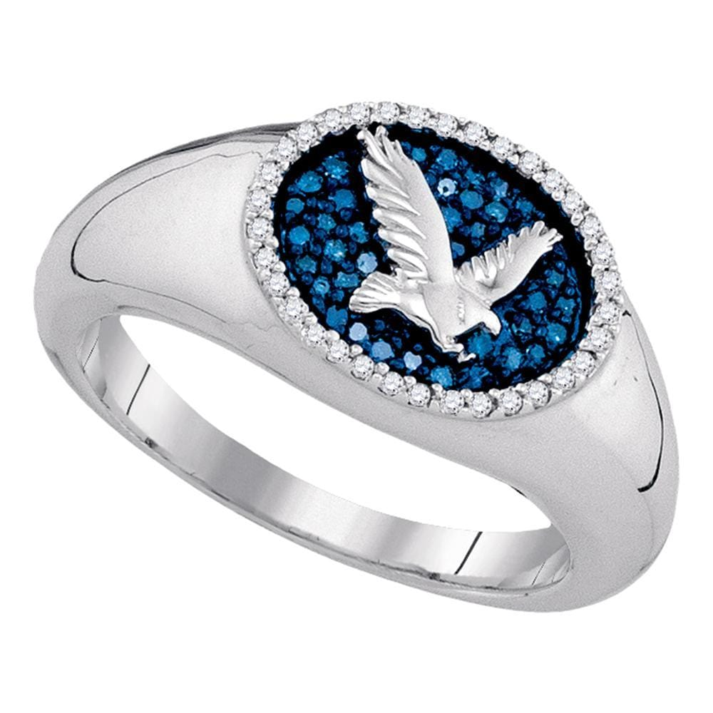 10kt White Gold Mens Round Blue Color Enhanced Diamond Oval Cluster Eagle Ring  Cttw
