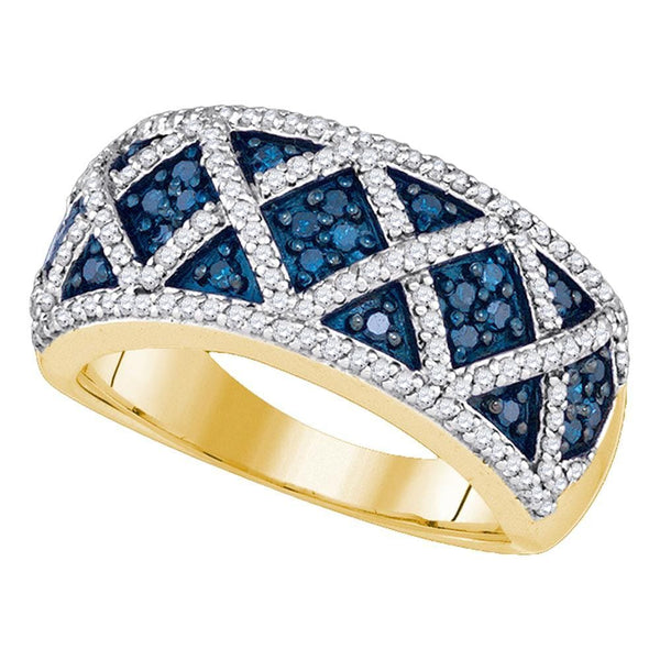 10kt Yellow Gold Womens Round Blue Color Enhanced Diamond Crisscross Band Ring 3/4 Cttw