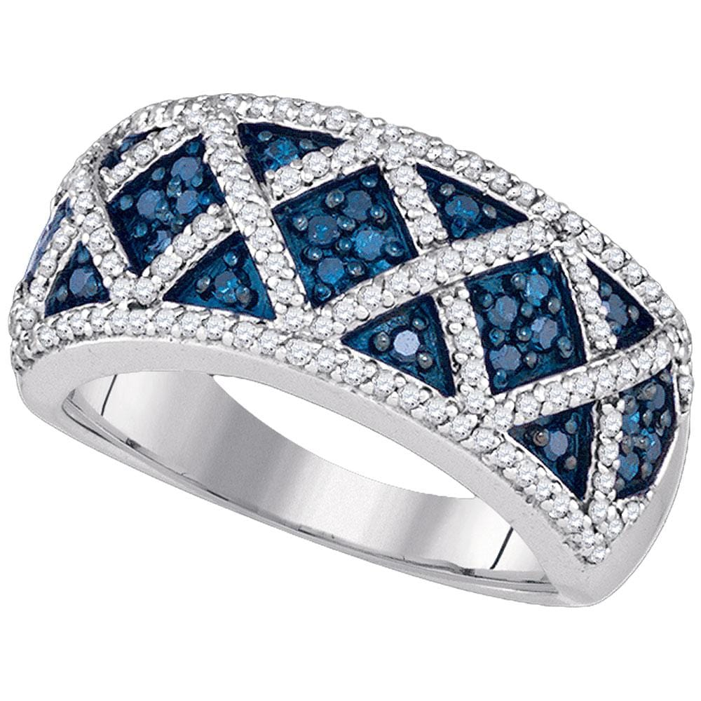 10kt White Gold Womens Round Blue Color Enhanced Diamond Crisscross Band Ring 3/4 Cttw