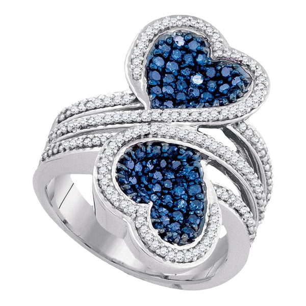 10kt White Gold Womens Round Blue Color Enhanced Diamond Double Heart Bypass Ring 1-1/10 Cttw