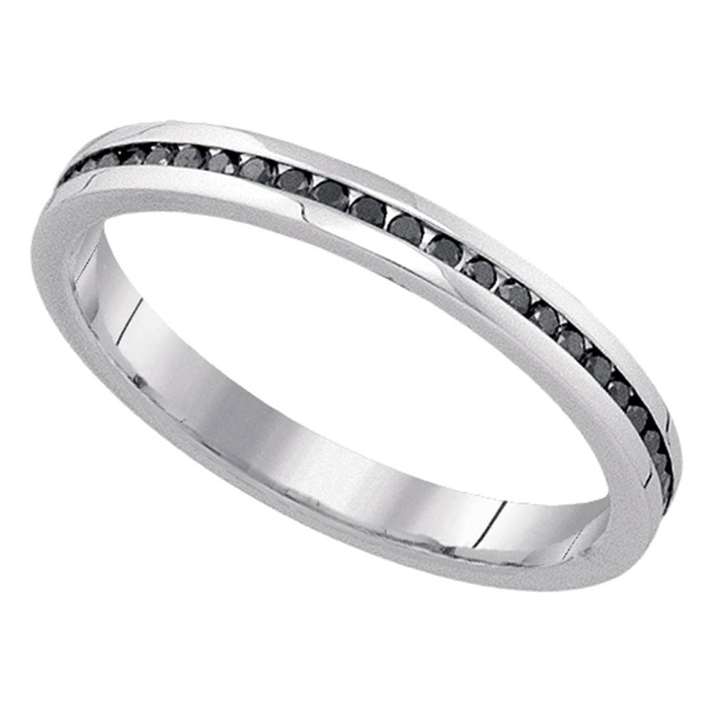 10kt White Gold Womens Round Black Color Enhanced Diamond Wedding Band 1/4 Cttw