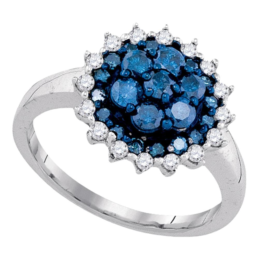 10kt White Gold Womens Round Blue Color Enhanced Diamond Flower Cluster Ring 1-1/20 Cttw
