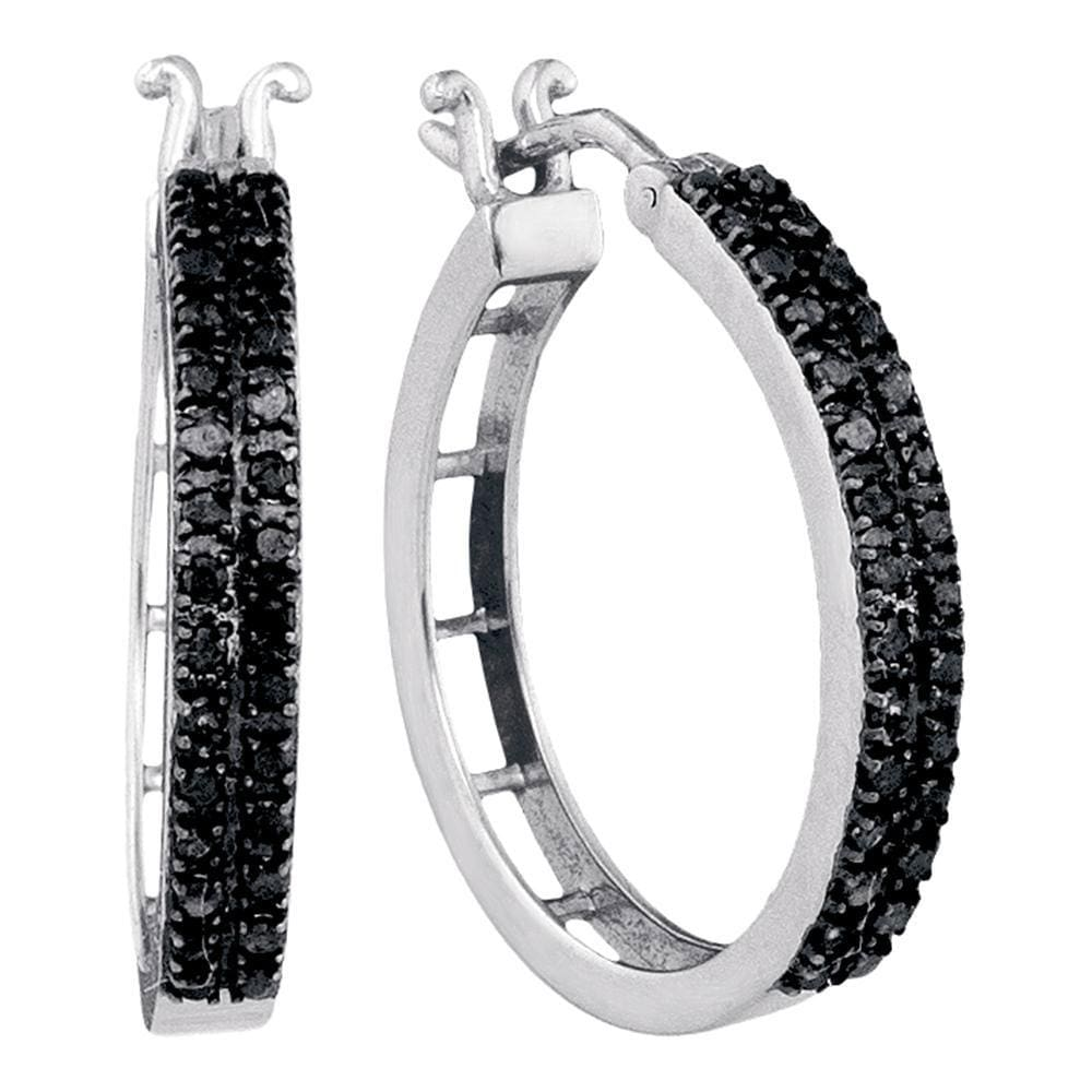 10kt White Gold Womens Round Black Color Enhanced Diamond Hoop Earrings 1/2 Cttw