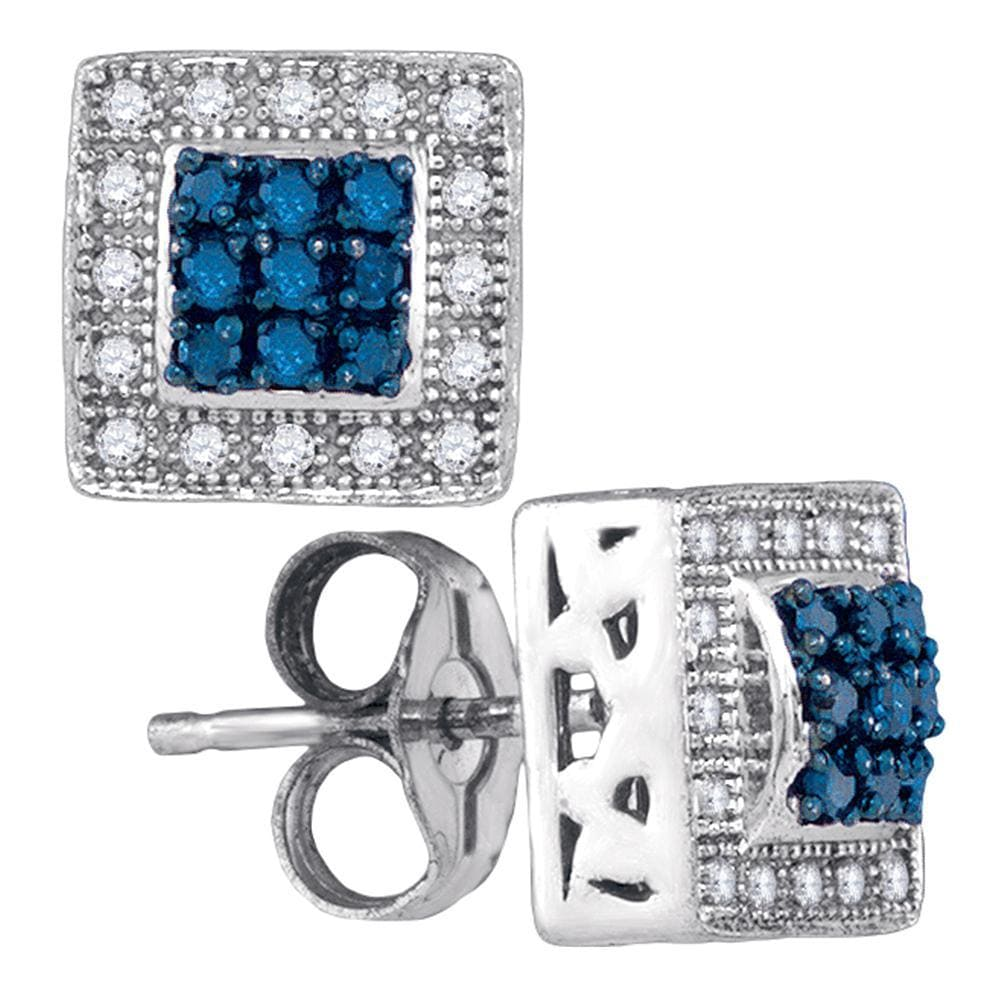 10kt White Gold Womens Round Blue Color Enhanced Diamond Square Frame Cluster Stud Earrings 1/5 Cttw