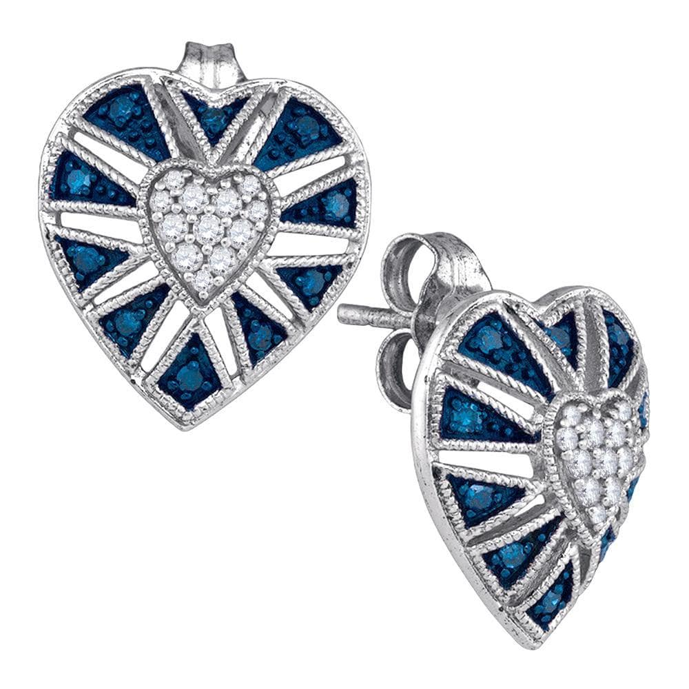 10kt White Gold Womens Round Blue Color Enhanced Diamond Heart Cluster Earrings 1/4 Cttw