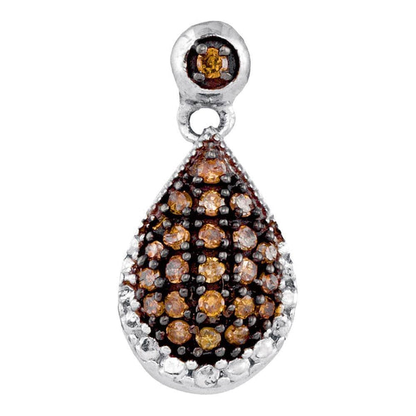 10kt White Gold Womens Round Brown Color Enhanced Diamond Teardrop Pendant 1/6 Cttw