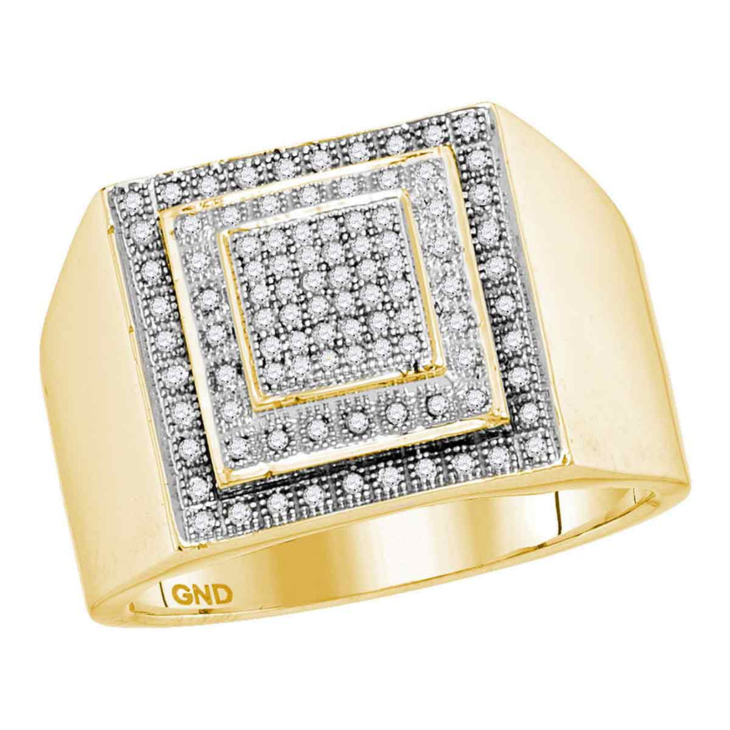 10kt Yellow Gold Mens Round Diamond Square Frame Cluster Ring 1/3 Cttw