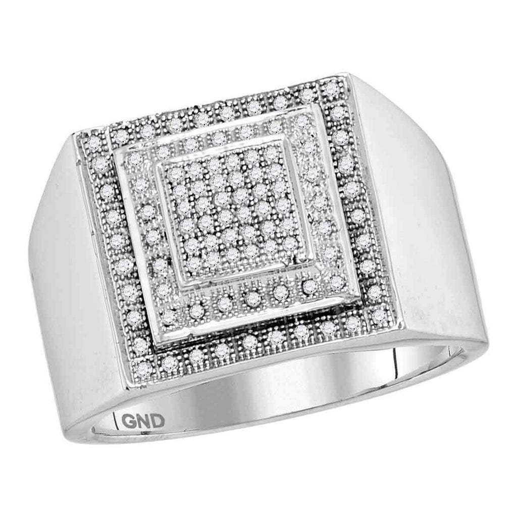 10kt White Gold Mens Round Diamond Square Frame Cluster Ring 1/3 Cttw
